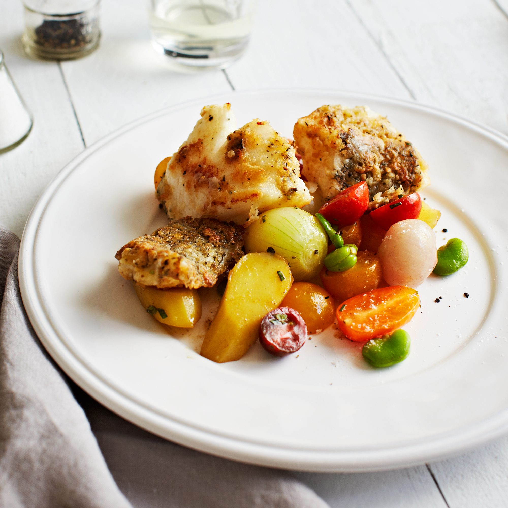 Black Sea Bass with Baby Vegetables and Mushroom Brown-Butter Vinaigrette