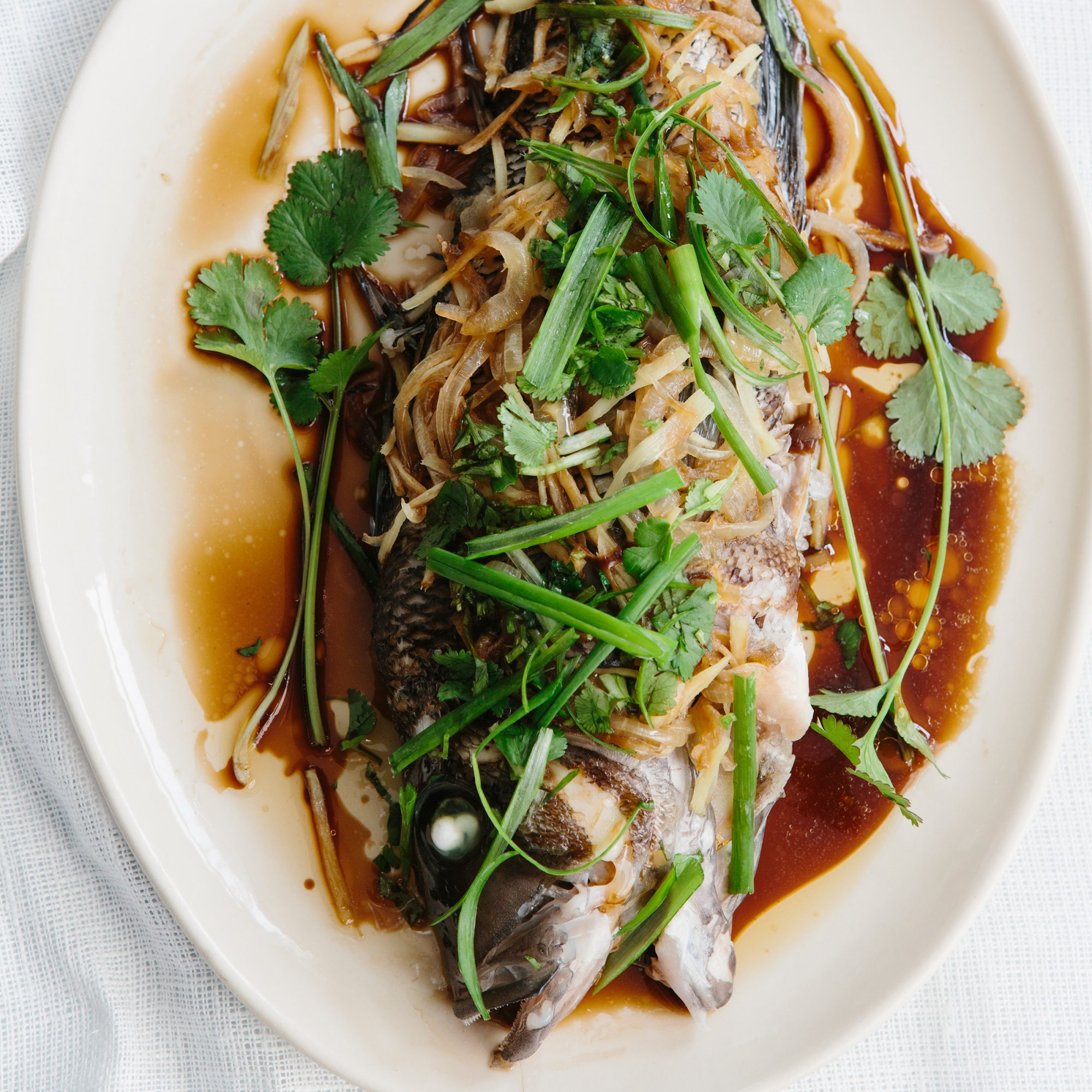 Steamed Bass with Onion, Ginger and Scallion
