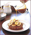 Almond Cakes with Bananas and Warm Caramel Sauce