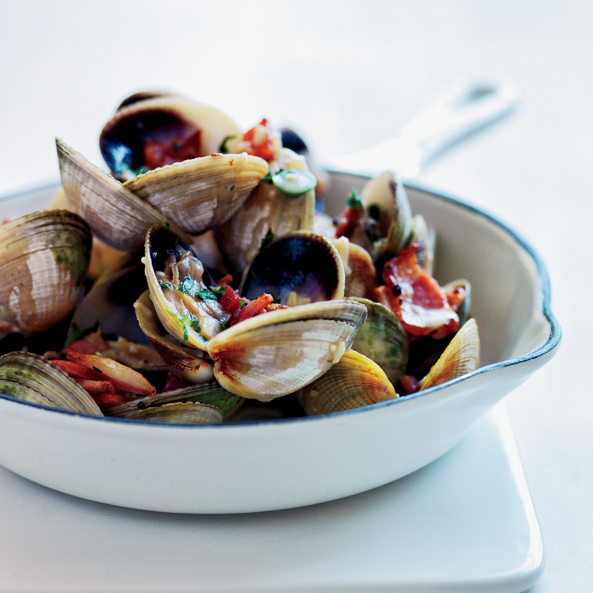 Pan-Roasted Clams with Bacon, Bourbon and Jalapeño