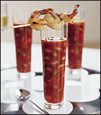 Gazpacho with Grilled Seafood