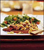 Grilled Rib-Eye Steaks with Caper and Bread Crumb Salsa