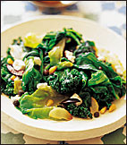 Sautéed Mixed Greens with Olives and Ricotta Salata