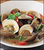 Steamed Littlenecks with Zucchini and Red Peppers
