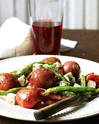 Roasted Green-Bean and Potato Salad with Soppressata and Mozzarella