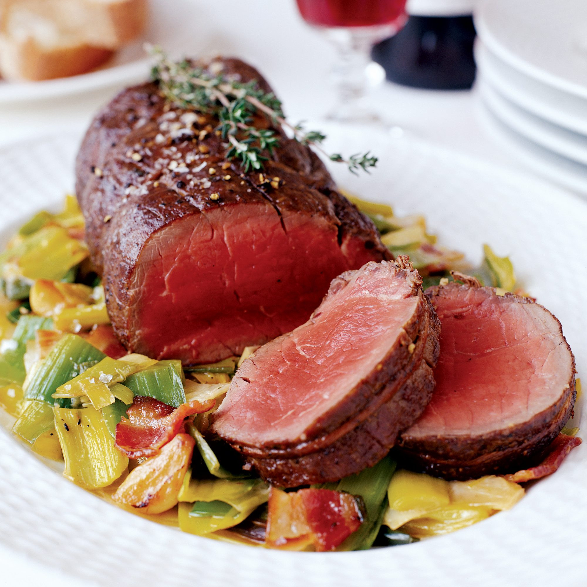 Beef Tenderloin with Bacon and Creamed Leeks