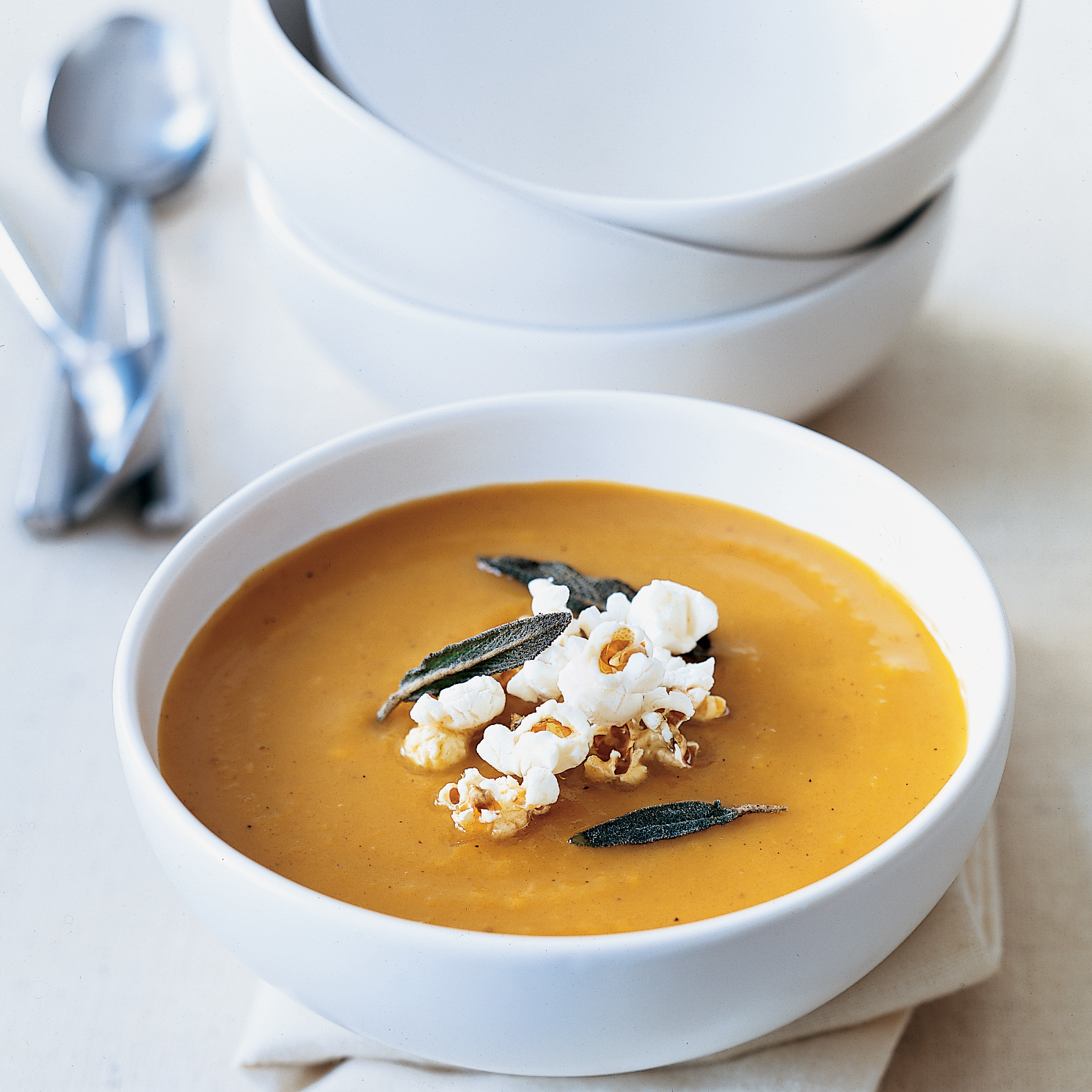 Butternut Squash Soup with Popcorn and Sage
