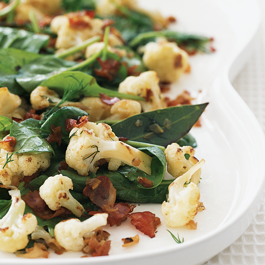 Caramelized Cauliflower with Pancetta and Spinach