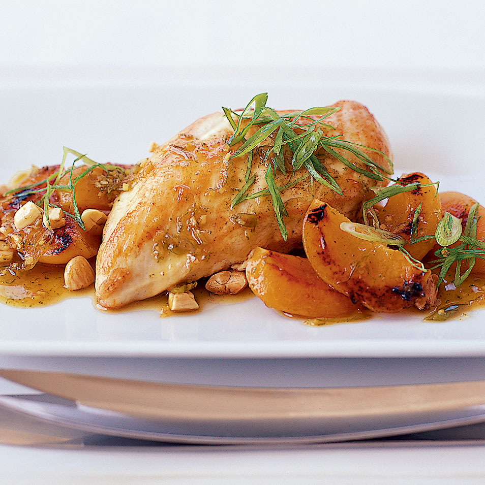 Chicken with Fresh Apricots, Ginger and Cracked Almonds