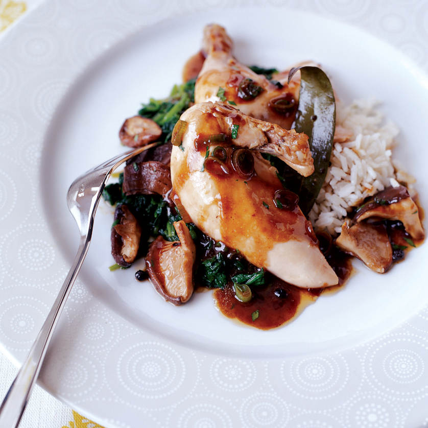 Cornish Hens with Shiitake and Watercress