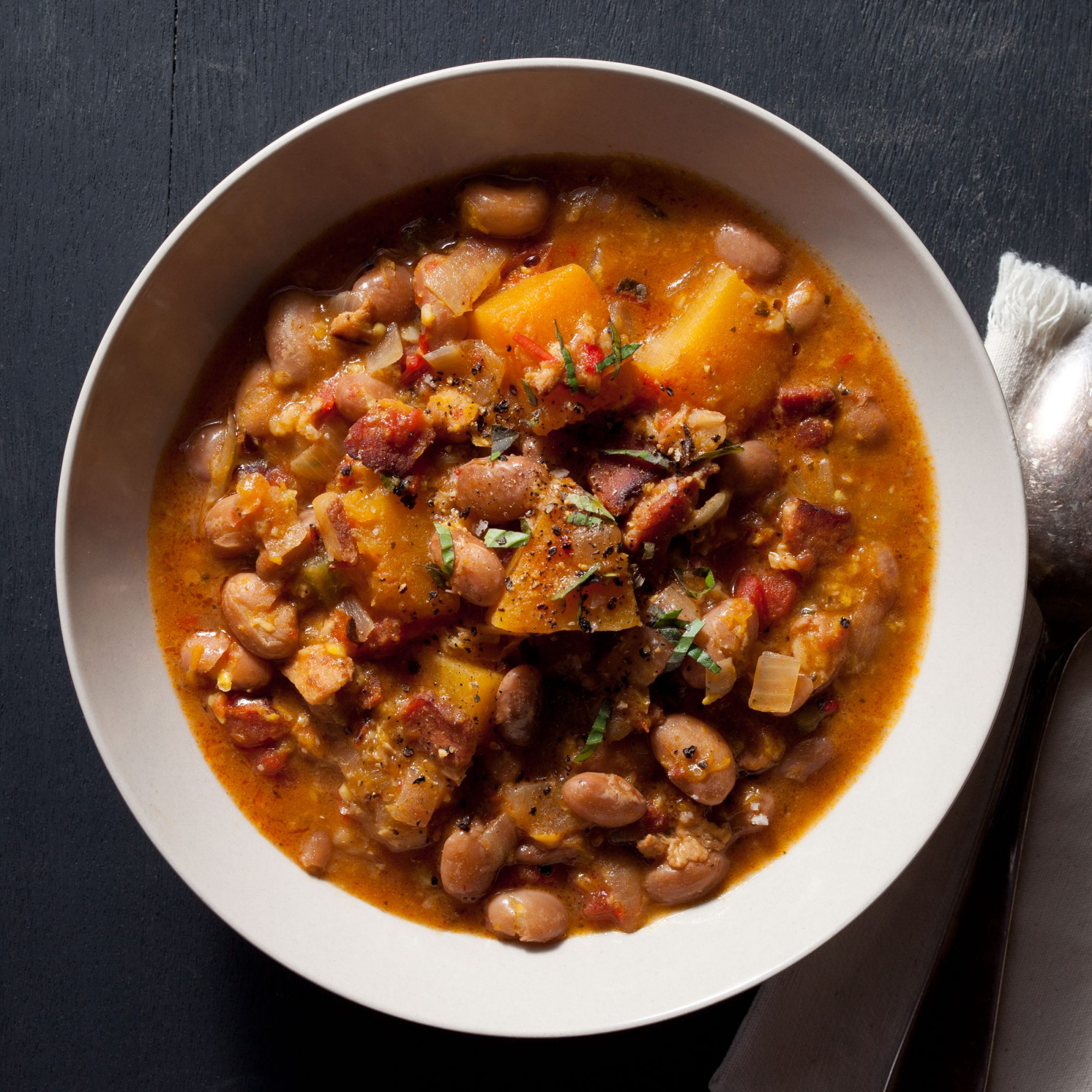 Cranberry Bean and Pumpkin Stew with Grated Corn