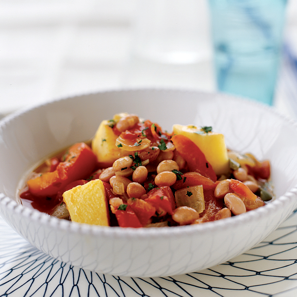 Cranberry Bean Stew with Potatoes and Bell Peppers