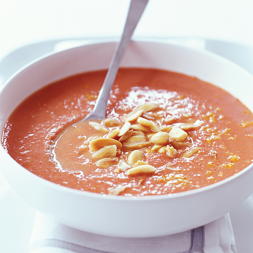 Creamy Tomato Soup with Toasted Almonds