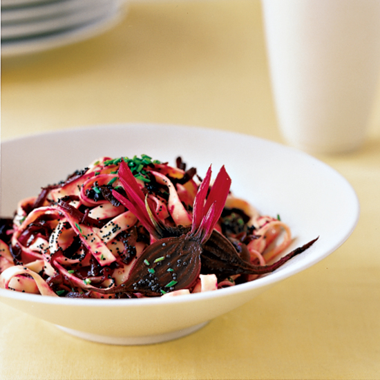 Fettuccine with Grated Beets and Cheese