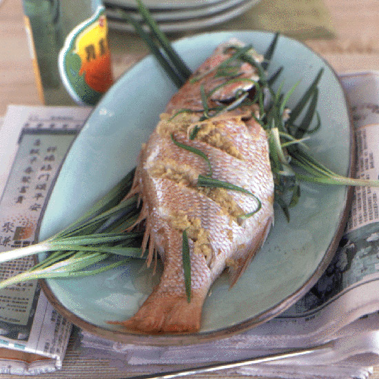 Steamed Whole Fish with Scallions and Ginger