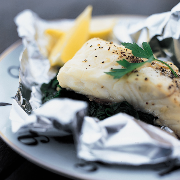 Foil Baked Sea Bass With Spinach Recipe Kate Heddings Food Wine