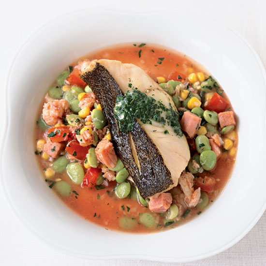 Crispy Cod with Lima Beans, Crab and Corn