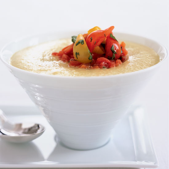 Chilled Green Tomato Soup with Tomato Confit