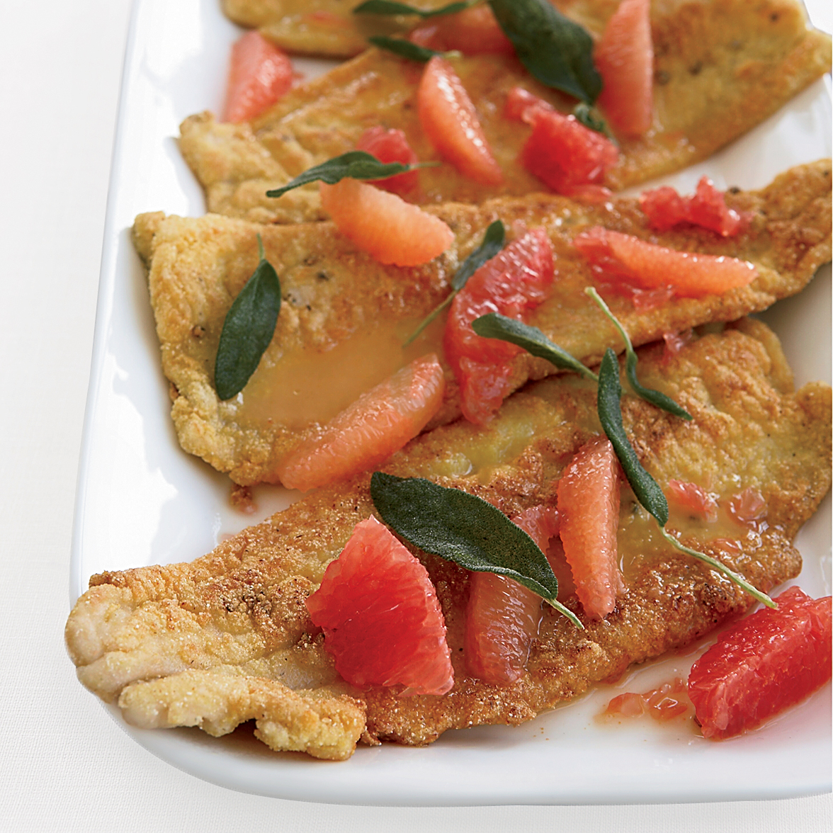 Cornmeal-Fried Trout with Grapefruit and Fried Sage