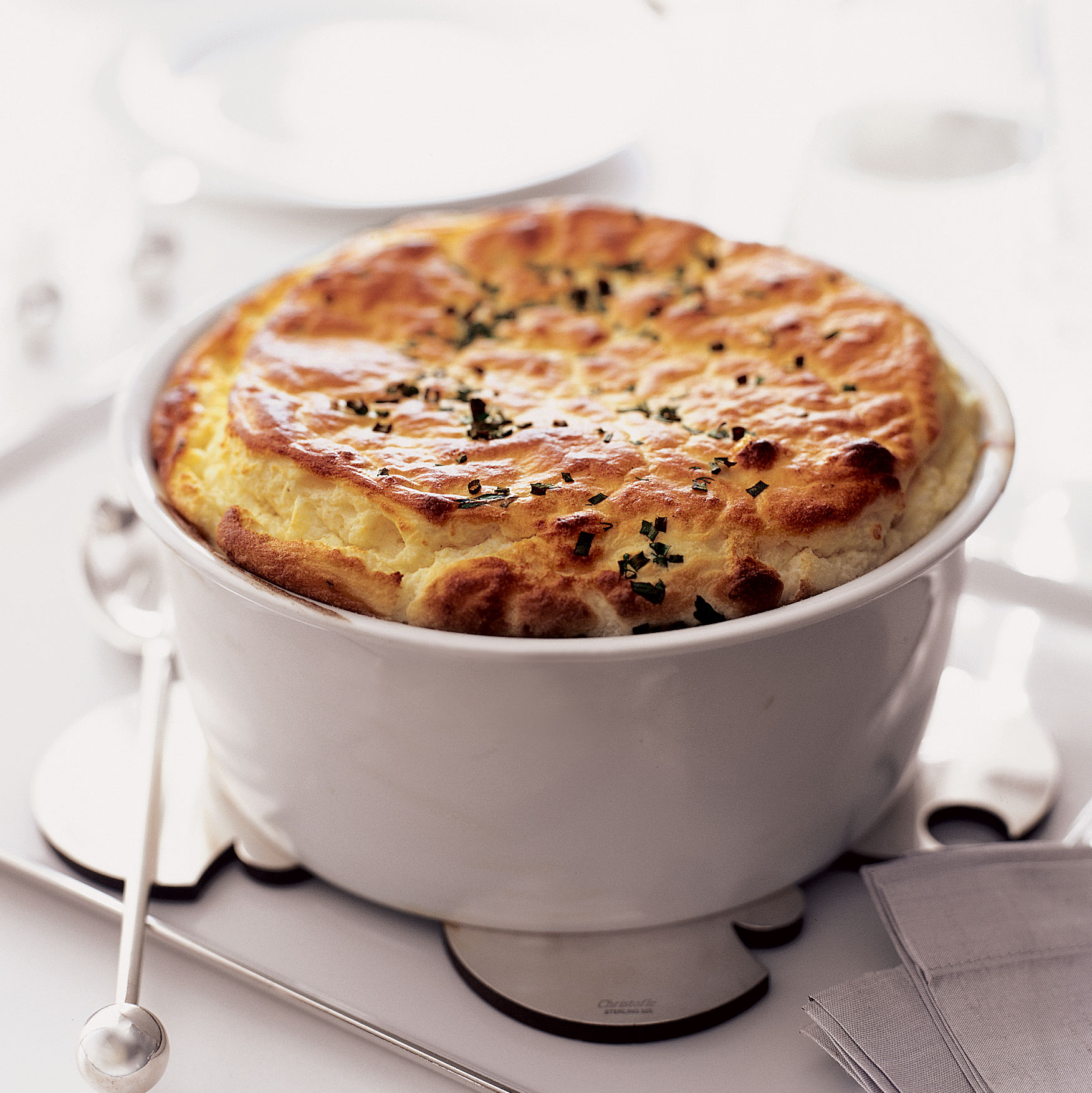 Goat Cheese and Fresh Herb Soufflé