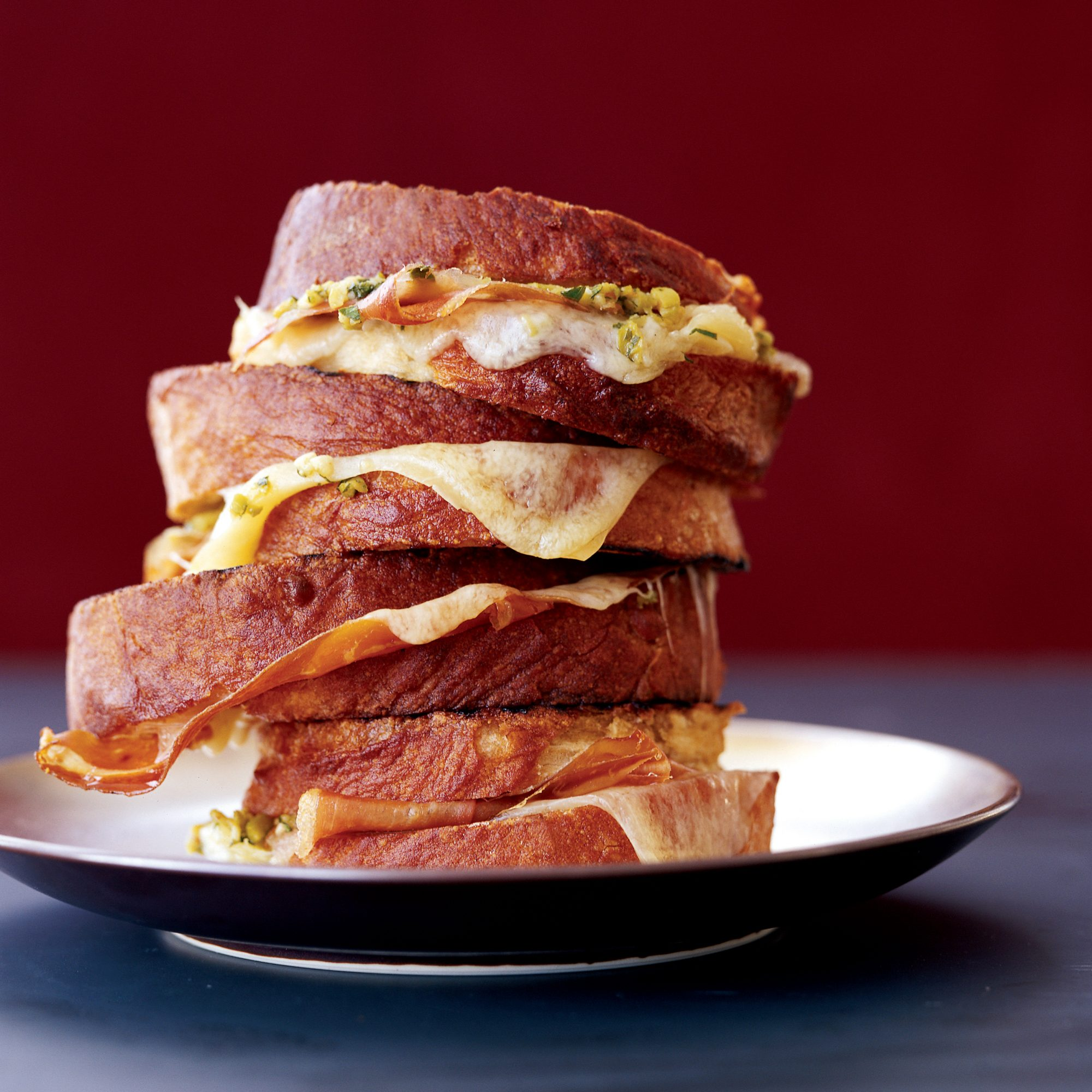 Grilled Ham-and-Cheese Sandwiches with Tapenade