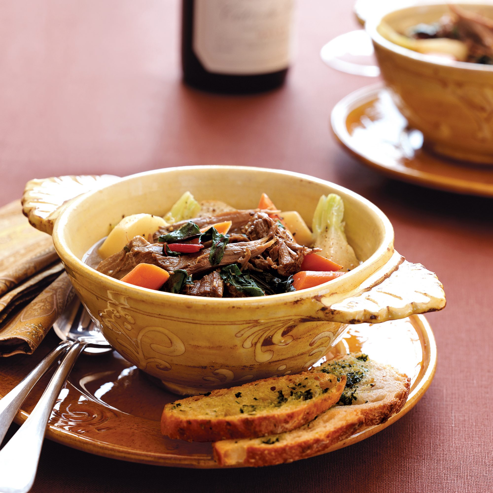 Lamb Stew with Swiss Chard and Garlic-Parsley Toasts