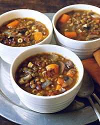 Lentil Soup with Tubetti and Bacon