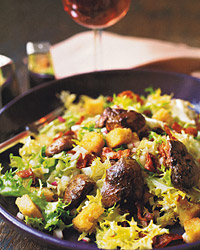 Chicken-Liver Salad with Hot Bacon Dressing and Croutons