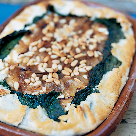 Open-Face Onion, Goat Cheese and Pine Nut Tart