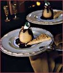 Poached Pears with Mascarpone Cream and Chocolate Sauce