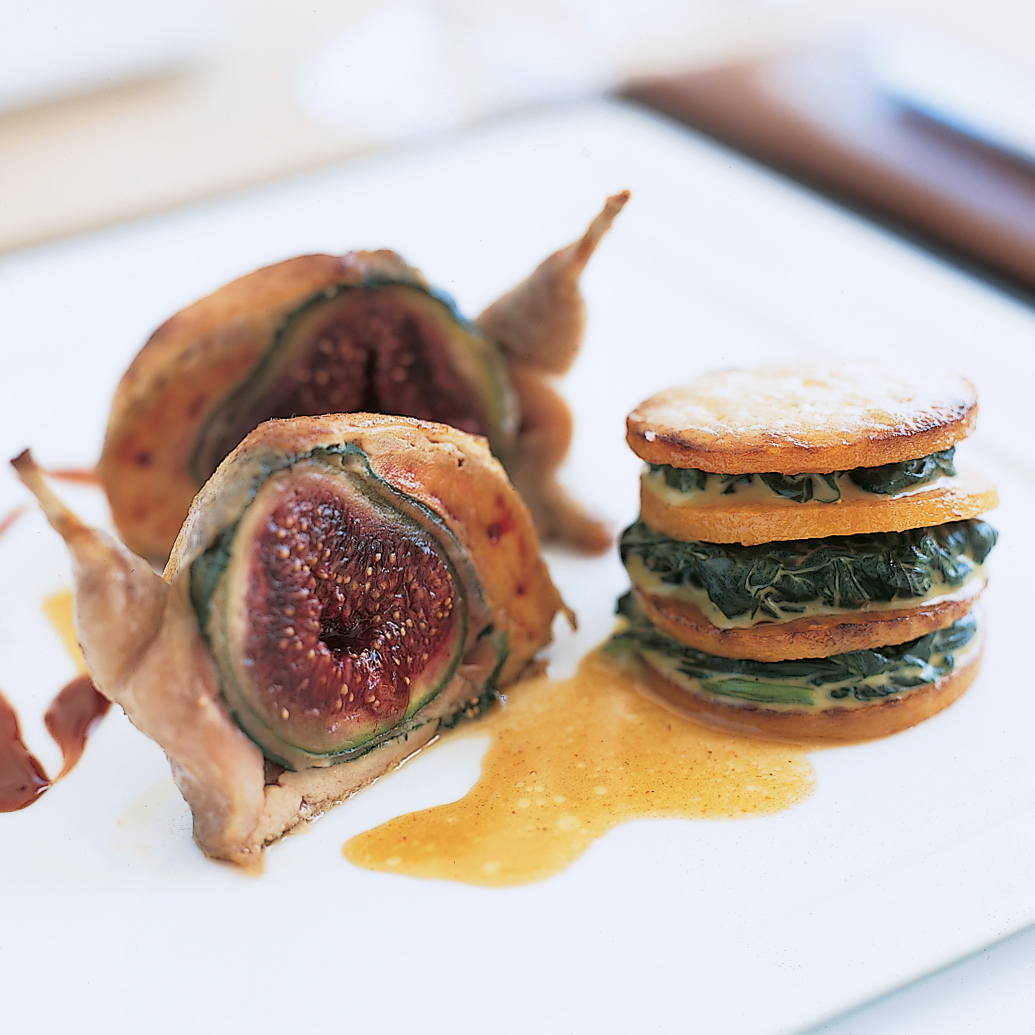Quail Stuffed with Fresh Figs and Prosciutto