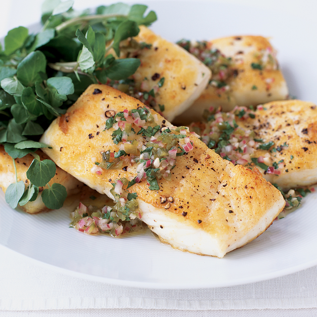 Roasted Halibut with Fennel and Croutons