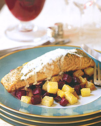 Salmon with Arugula Cream and Soy-Braised Beets