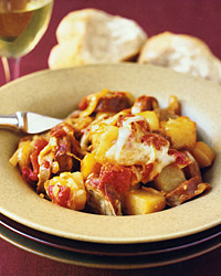 Baked Sausages, Fennel, and Potatoes with Fontina