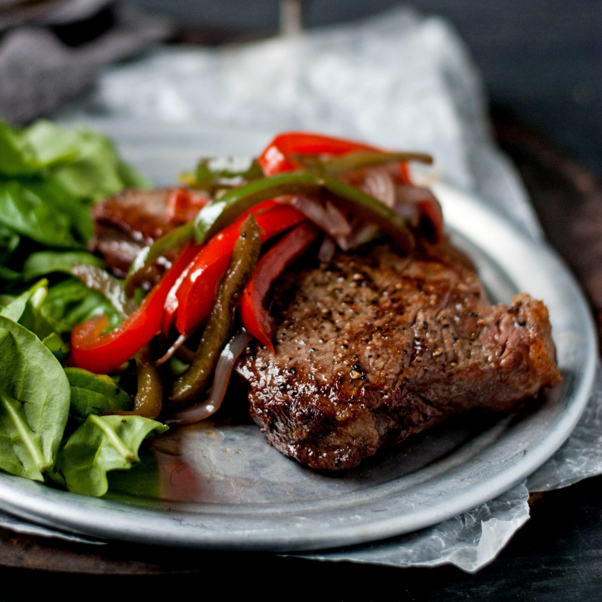 Sautéed Steaks with Red Wine and Peppers