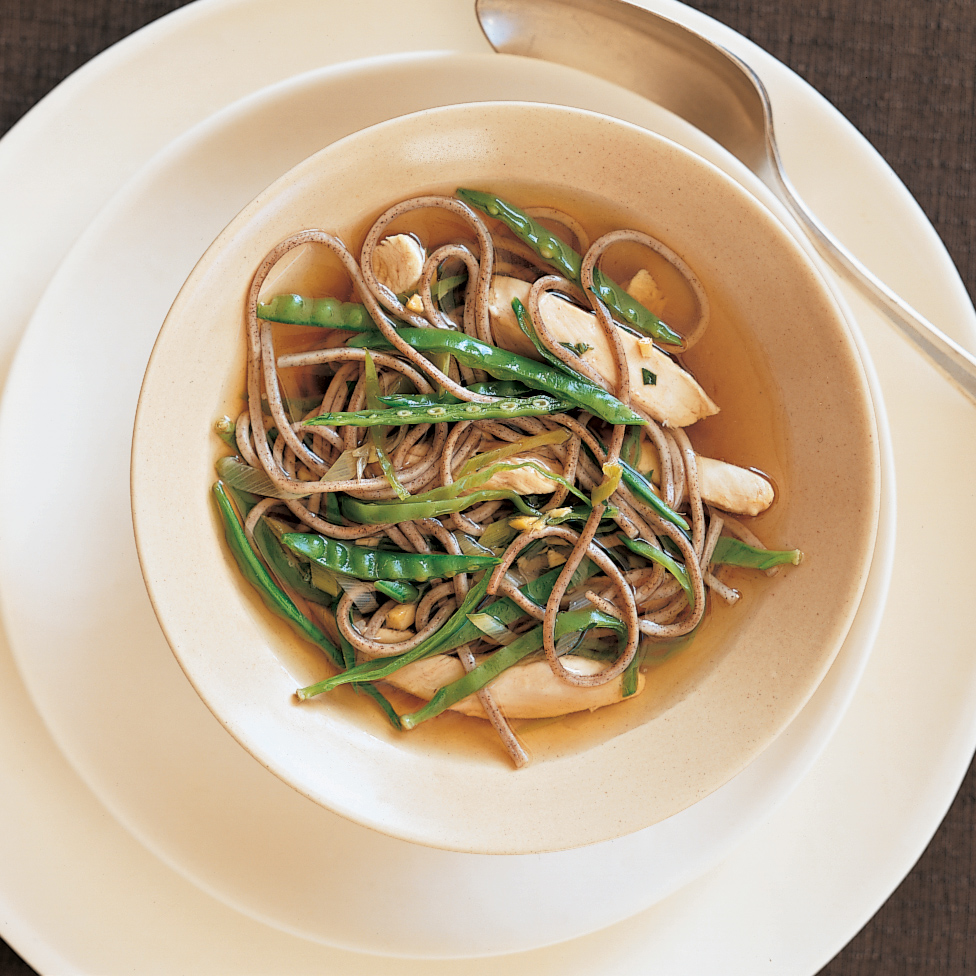 Soba in Green Tea with Chicken and Snow Peas