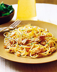 Spaghetti with Mackerel and Pine Nuts
