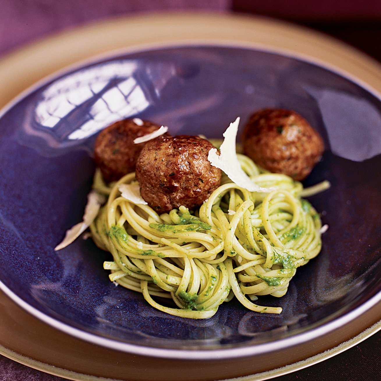 Tagliarini with Almond-Arugula Pesto and Meatballs