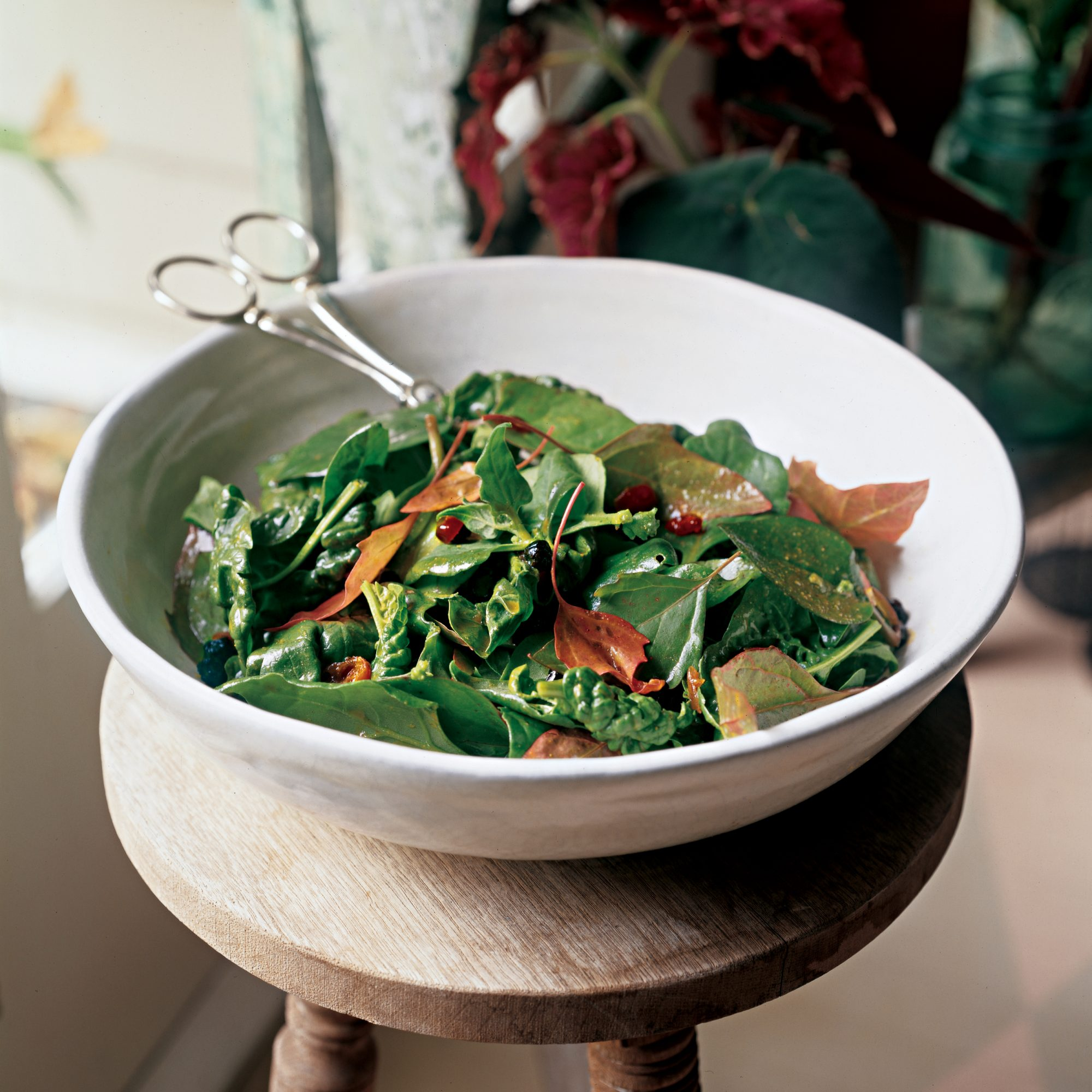 Tropical Spinach Salad with Warm Fruit Vinaigrette