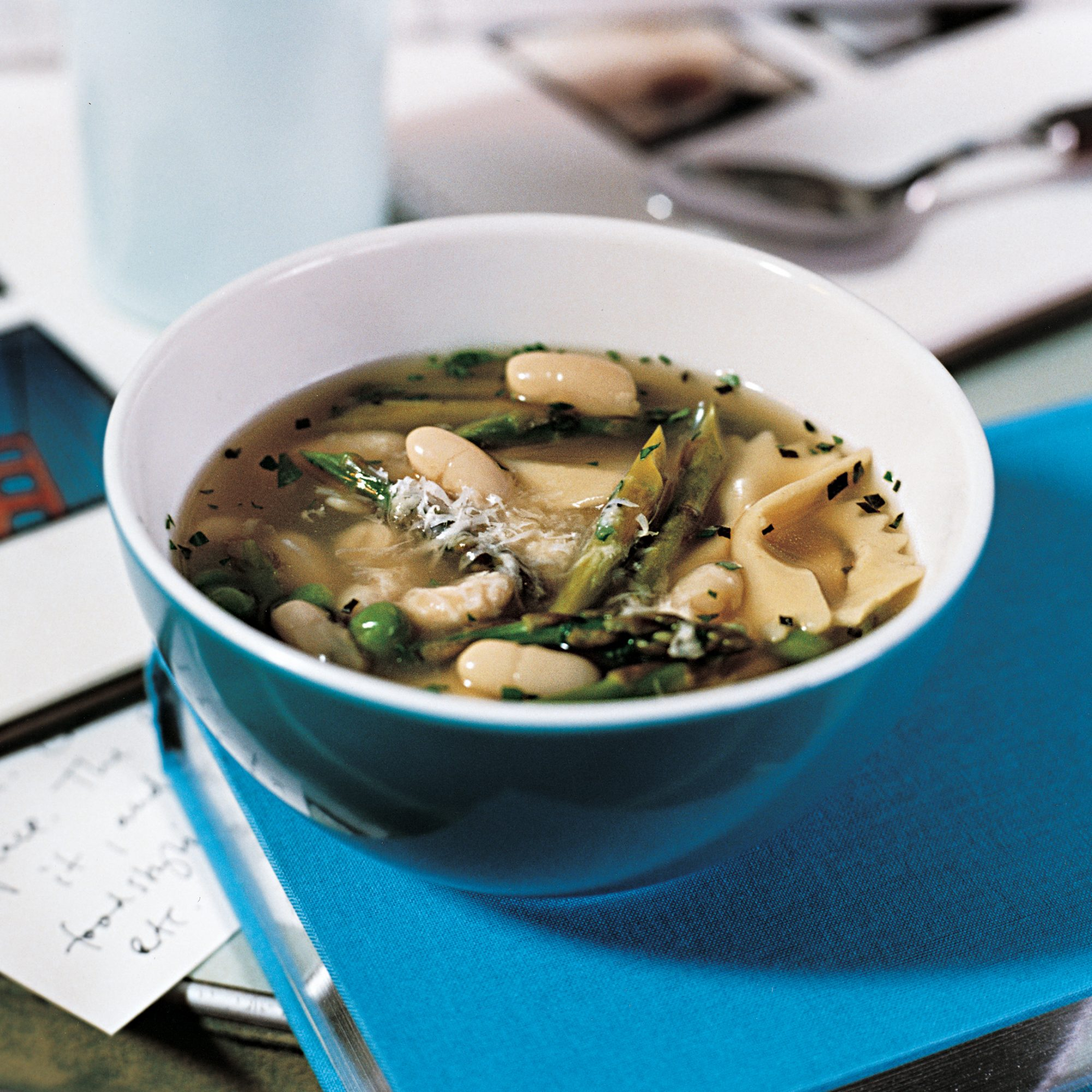 White Bean Soup with Asparagus and Peas