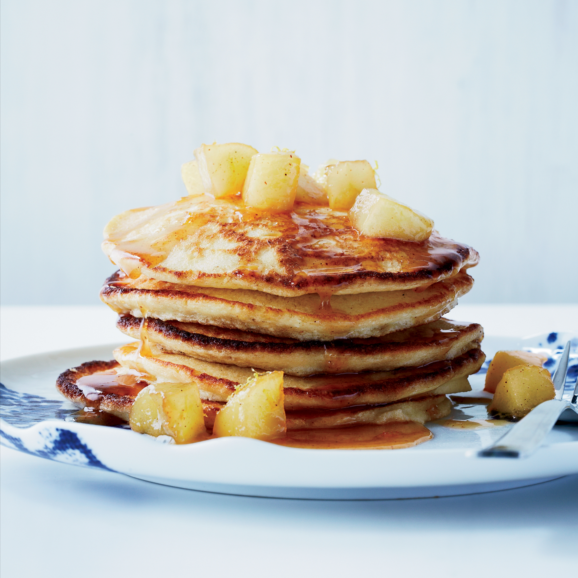 Lemon-Ricotta Pancakes with Caramelized Apples