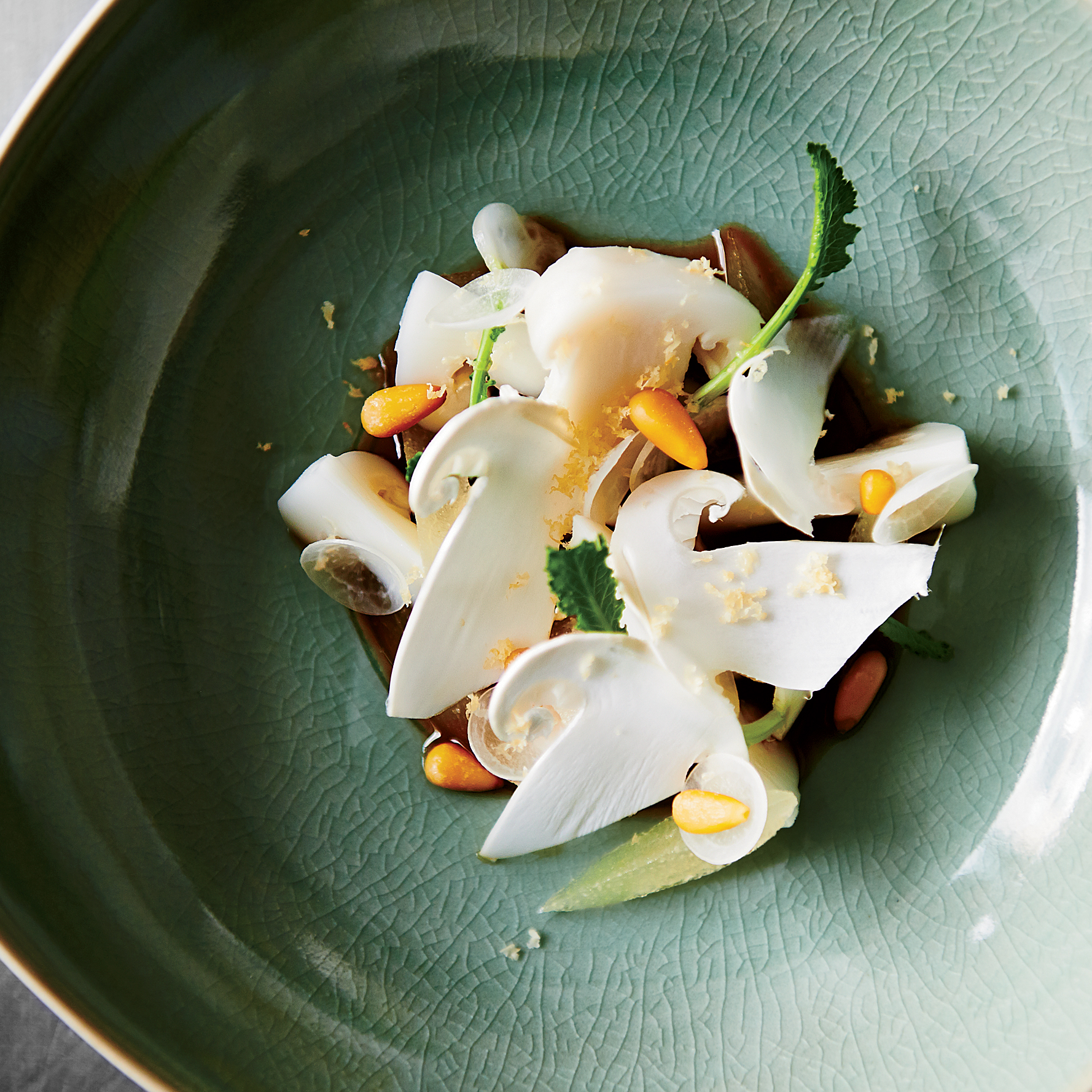 Marinated Pine Mushrooms with Asian Pear and Pine Nuts