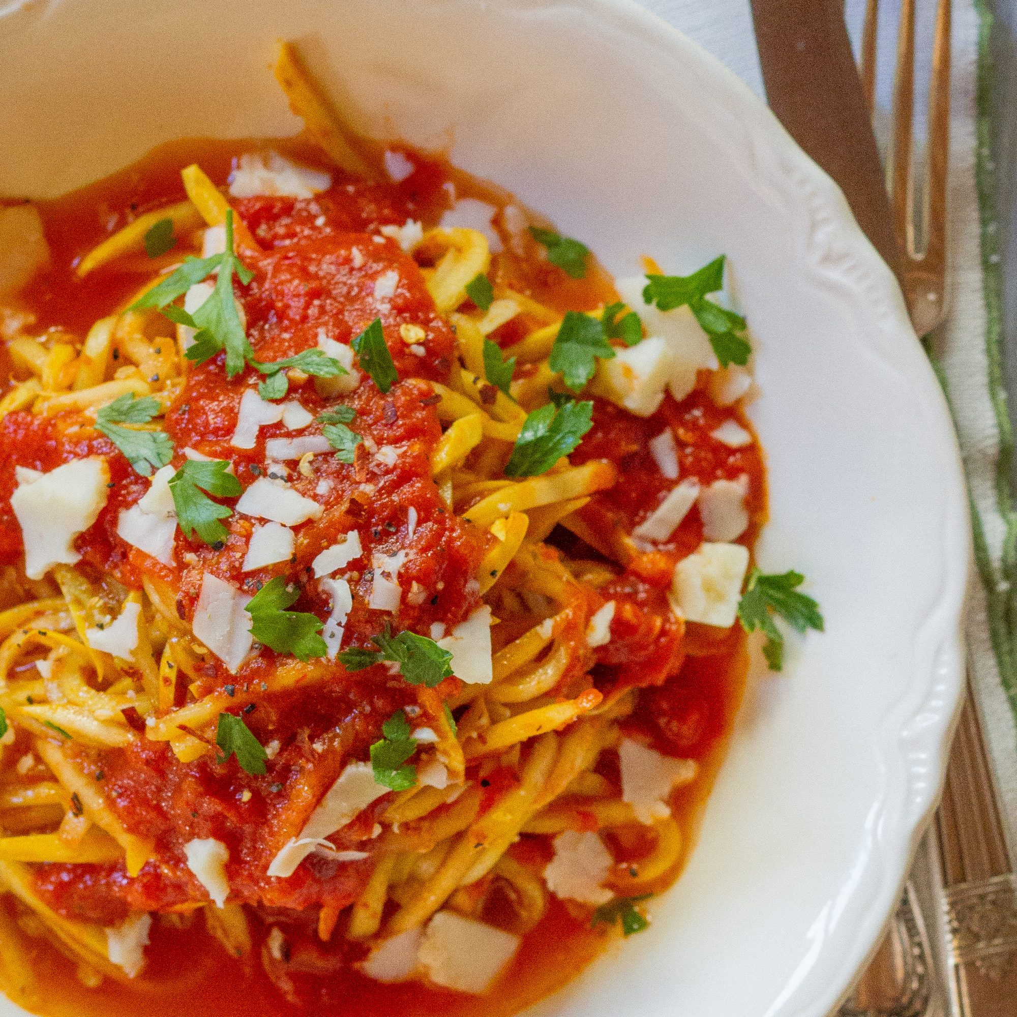 Yellow Squash all'Amatriciana with Pancetta and Spicy Tomato Sauce
