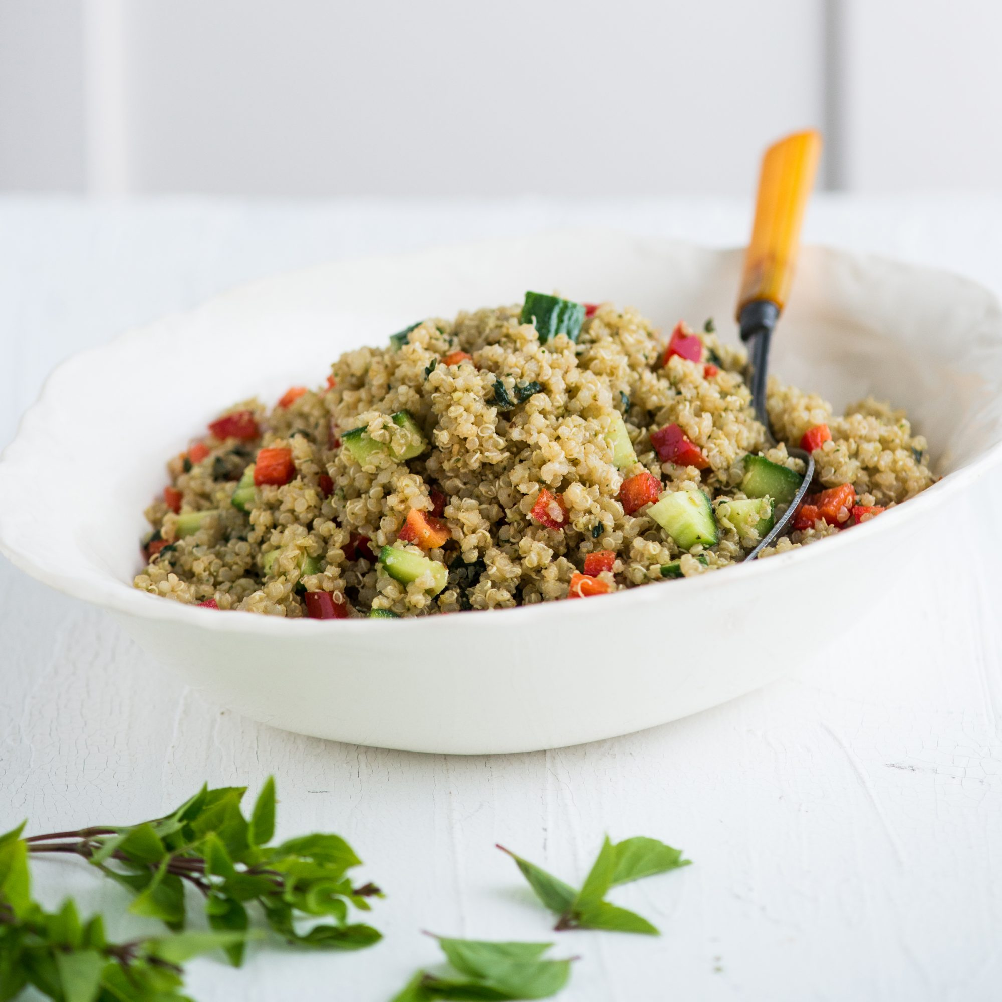 Pesto Quinoa Salad with Bell Pepper and Cucumbers