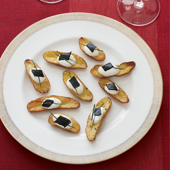 Roasted Fingerling Potato and Pressed Caviar Canapés