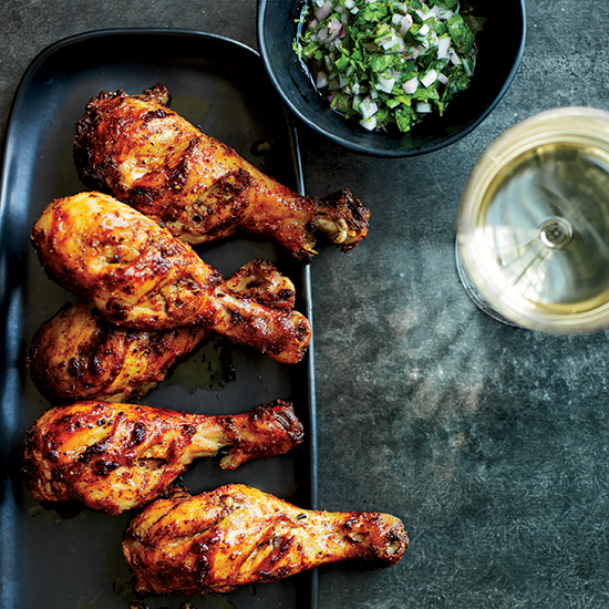 Tandoori Chicken Drumsticks with Cilantro-Shallot Relish