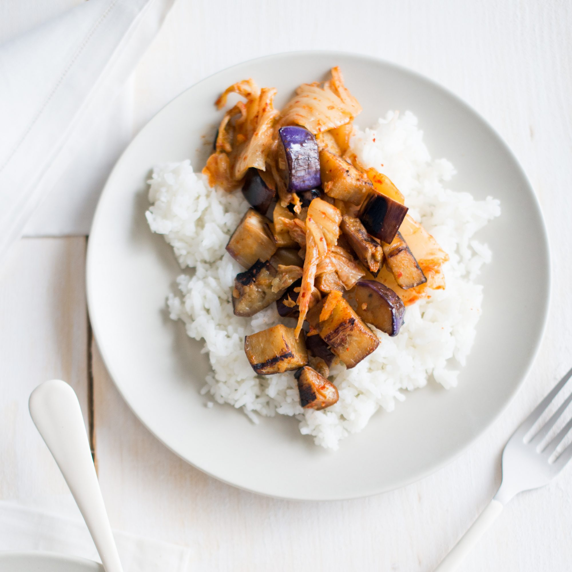 Seared Eggplant and Kimchi Stir-Fry