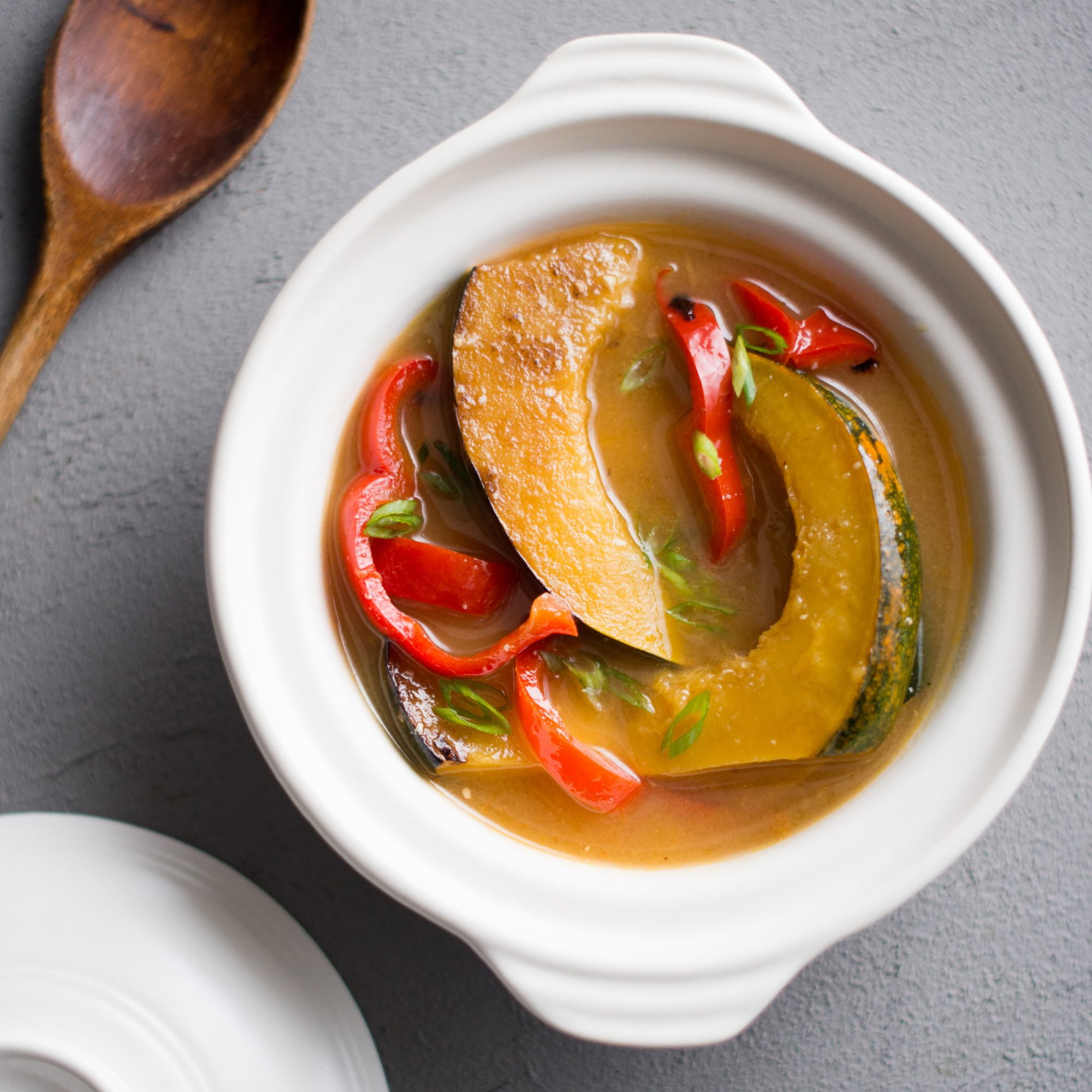 Miso-Stewed Acorn Squash with Bell Peppers