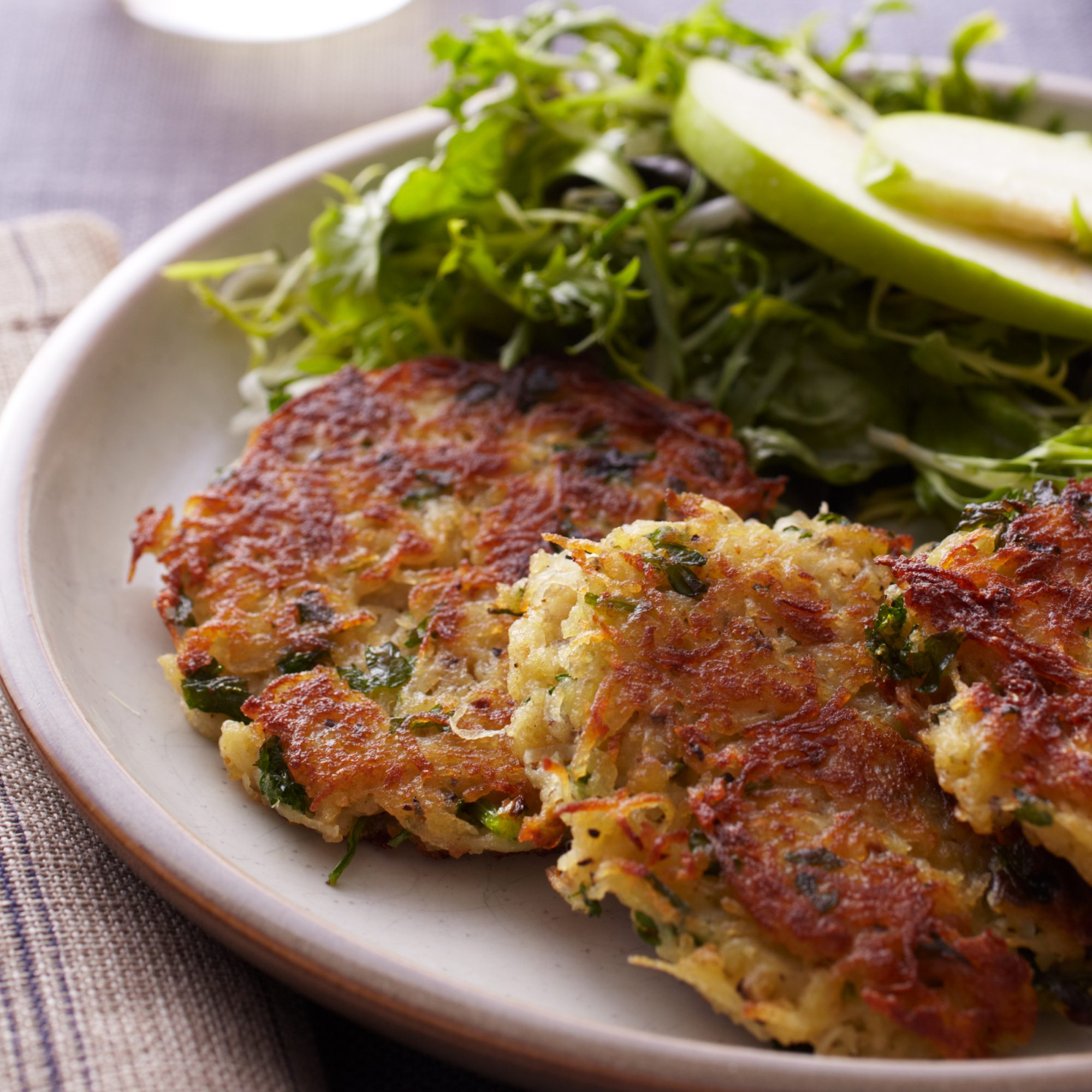 Curly-Endive Salad with Potato-and-Apple Pancakes