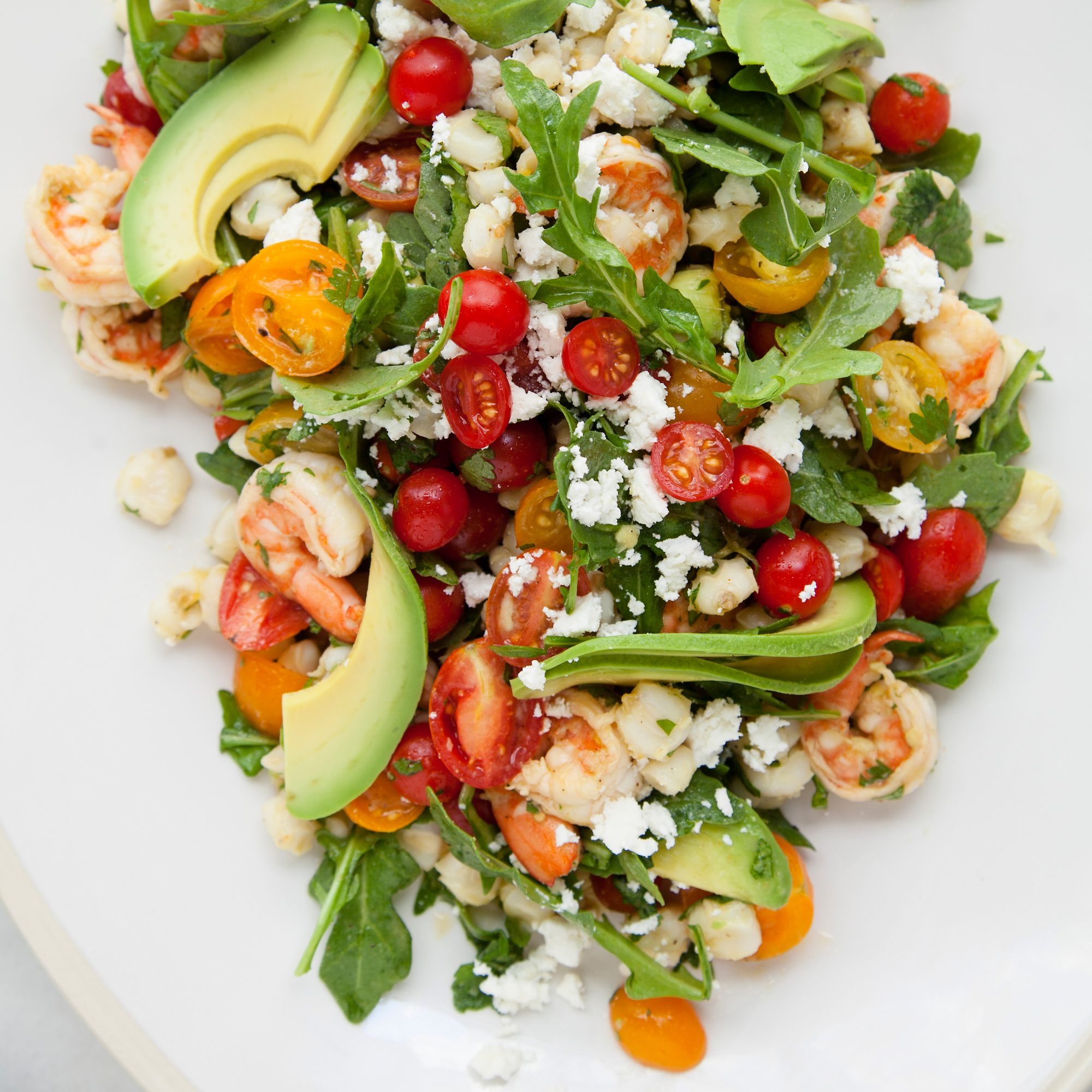 Shrimp Salad with Hominy, Arugula and Lime